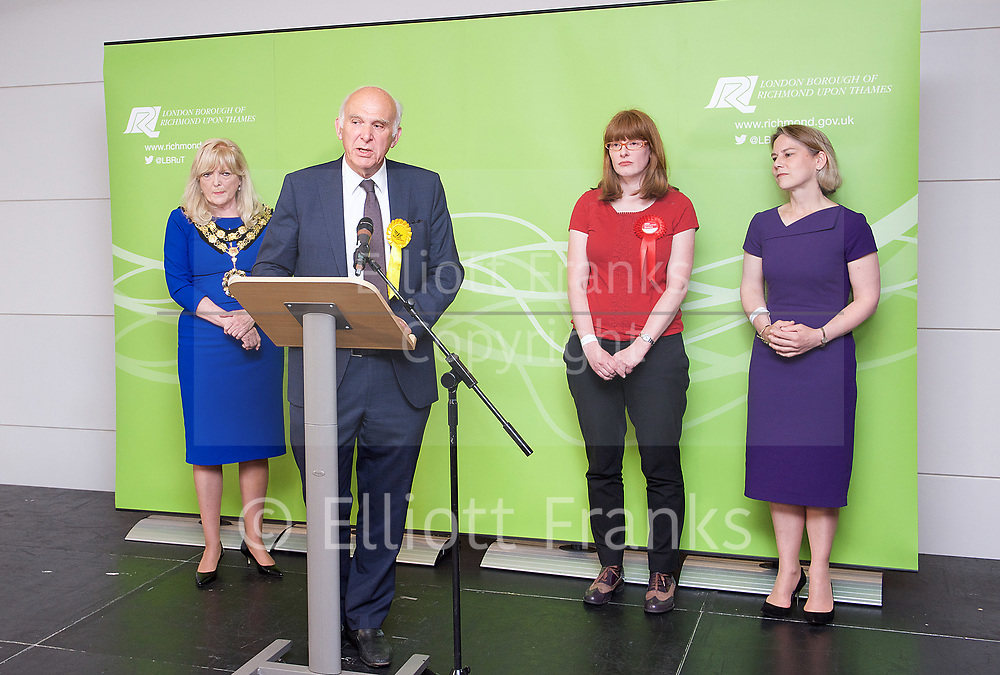 General Election count for the Twickenham &amp; Richmond Park constituencies at the Twickenham Rugby Stadium, Twickenham, Middlesex, Great Britain <br /> 8th June 2017 <br /> <br /> Vince Cable <br /> wins Twickenham seat <br /> <br /> <br /> <br /> Photograph by Elliott Franks <br /> Image licensed to Elliott Franks Photography Services
