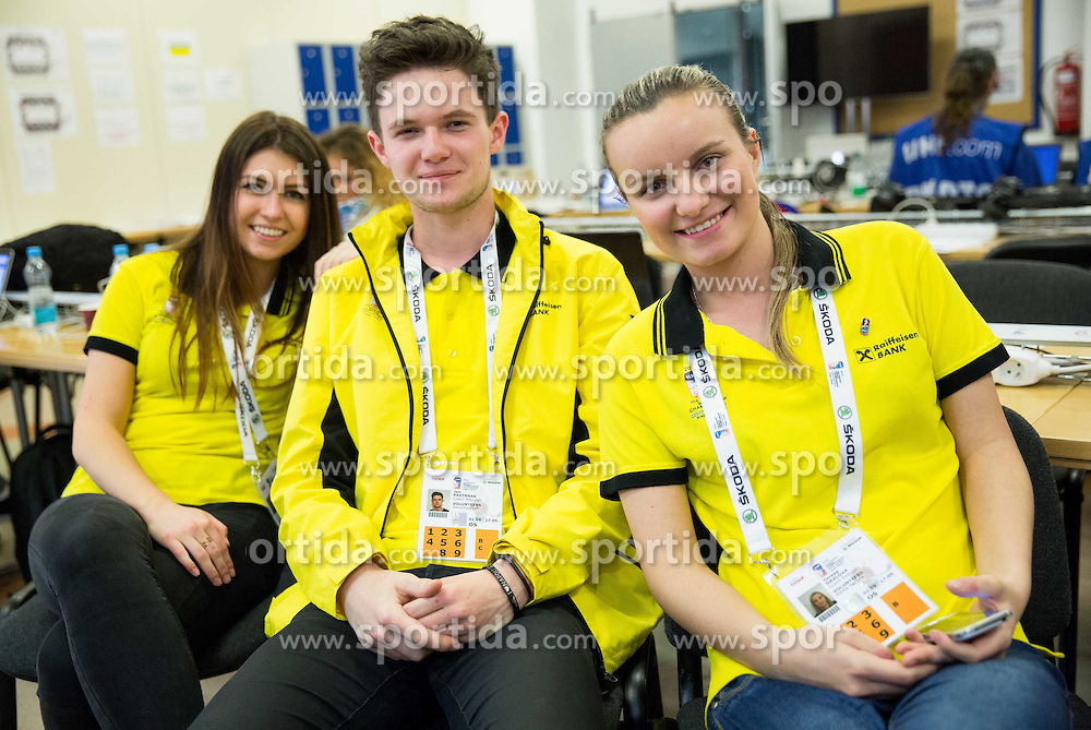 Volunteers in sub media centre at Day 4 in Group B of 2015 IIHF World Championship, on May 4, 2015 in CEZ Arena, Ostrava, Czech Republic. Photo by Vid Ponikvar / Sportida