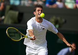 LONDON, ENGLAND - Thursday, June 28, 2012: James Ward (GBR) during the Gentlemen's Singles 2nd Round match on day four of the Wimbledon Lawn Tennis Championships at the All England Lawn Tennis and Croquet Club. (Pic by David Rawcliffe/Propaganda)