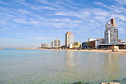 Israel, Tel Aviv skyline and coast, The Sheraton Hotel in the centre