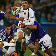 Bryan Habana, South Africa, is tackled during the South Africa V Samoa, Pool D match during the IRB Rugby World Cup tournament. North Harbour Stadium, Auckland, New Zealand, 30th September 2011. Photo Tim Clayton...