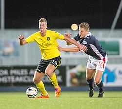 Livingston Jordan White and Falkirk's Peter Grant.<br /> Falkirk 0 v 0  Livingston, Scottish Championship game played 21/10/2014 at The Falkirk Stadium.