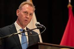 March 28, 2019 - Tampa, Florida, United States - U.S. Acting Secretary of Defense PATRICK SHANAHAN attends the U.S. Central Command change of command, Tampa, Florida, March 28, 2019. U.S. Army Gen. Joseph L. Votel, who retired after 39 years of military service, was succeeded as Centcom commander by U.S. Marine Corps Gen. Kenneth F. McKenzie Jr. (Credit Image: ? DoD/ZUMA Wire/ZUMAPRESS.com)