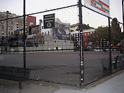 """**EXCLUSIVE**.City Park Playground where Tim Robbins ignoring City Park's Playground Rules that Prohibits """"Roller Skates"""" and Adults without children was playing """"Roller Skate Hockey"""" with his male friends at William F. Passannante Ballfield Public Park..While a Mother was waiting at the bus stop with her son, the ball pass trough the fence and hit the boy's foot, he was crying, so Tim rushed out of the Park to take care of the little boy, one of Tim's teammates rushed inside a local grocery store and brought ice in a black bag. Tim attended to the boy by putting ice on his foot and verifying that it wasn't broken. Be on the look out for a lawsuit..West Village.New York City, NY, USA .Sunday, September 23, 2007.Photo By Celebrityvibe.com.To license this image call (212) 410 5354 or;.Email: celebrityvibe@gmail.com; ."""