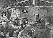 Curing pilchards,Cornwall, England, 1833