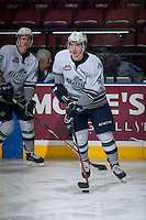 KELOWNA, CANADA - MARCH 18: Turner Ottenbreit #4 of Seattle Thunderbirds warms up against the Kelowna Rockets on March 18, 2015 at Prospera Place in Kelowna, British Columbia, Canada.  (Photo by Marissa Baecker/Shoot the Breeze)  *** Local Caption *** Turner Ottenbreit;