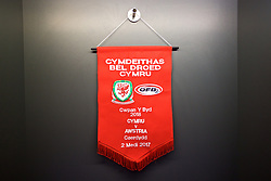 CARDIFF, WALES - Saturday, September 2, 2017: The match pennant in the dressing room before the 2018 FIFA World Cup Qualifying Group D match between Wales and Austria at the Cardiff City Stadium. (Pic by David Rawcliffe/Propaganda)