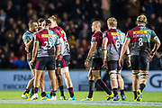 Joe Marchant, Centre (Harlequins) celebrating the referee's decision to award the conversion from Marcus Smith, Fly Half (Harlequins) during the Gallagher Premiership Rugby match between Harlequins and Saracens at Twickenham Stoop, Twickenham, United Kingdom on 6 October 2018.