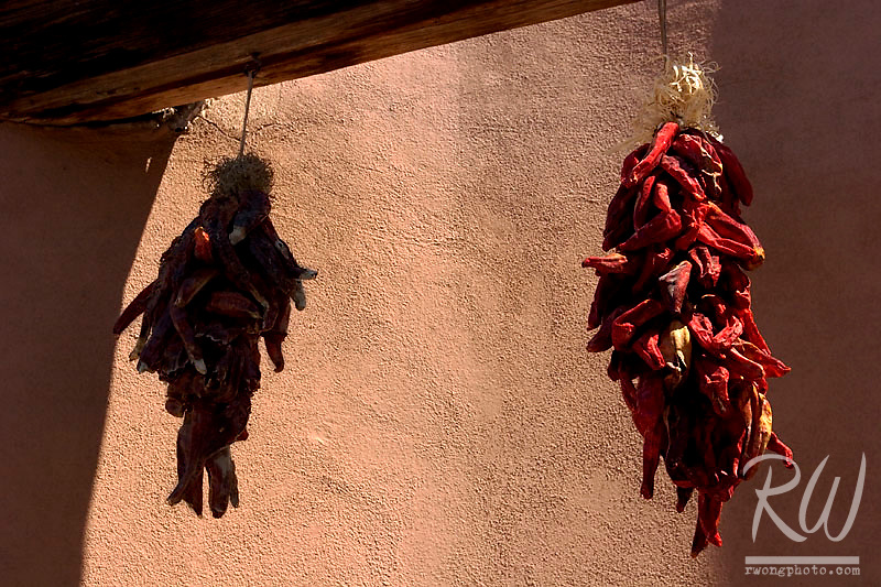 Red Chiles Hanging from Wooden Beam at Old Town Plaza, Albuquerque, New Mexico