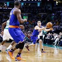 26 March 2013: New York Knicks point guard Pablo Prigioni (9) passes the ball to New York Knicks point guard Raymond Felton (2) during the New York Knicks 100-85 victory over the Boston Celtics at the TD Garden, Boston, Massachusetts, USA.