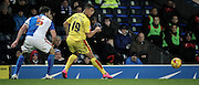 Jonson Clarke-Harris (Rotherham United) passes the ball inside to set up another Rotherham attack during the Sky Bet Championship match between Blackburn Rovers and Rotherham United at Ewood Park, Blackburn, England on 11 December 2015. Photo by Mark P Doherty.