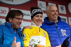 Christine Majerus of Boels Dolmans celebrates taking over the overall race leader's yellow jersey after Stage 1 of the Festival Elsy Jacobs - a 97.7 km road race, starting and finishing in Steinfort on April 28, 2018, in Luxembourg. (Photo by Balint Hamvas/Velofocus.com)