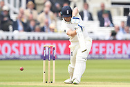 Jonny Bairstow (wk) of England drives on Day One of the NatWest Test Match match at Lord's, London<br /> Picture by Simon Dael/Focus Images Ltd 07866 555979<br /> 24/05/2018
