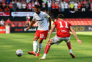 Joao Carvalho (10) of Nottingham Forset takes on Callum O'Dowda (11) of Bristol City during the EFL Sky Bet Championship match between Bristol City and Nottingham Forest at Ashton Gate, Bristol, England on 4 August 2018. Picture by Graham Hunt.