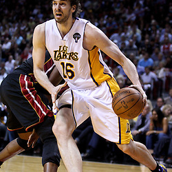 March 10, 2011; Miami, FL, USA; Los Angeles Lakers power forward Pau Gasol (16) against the Miami Heat during the second quarter at the American Airlines Arena.  Mandatory Credit: Derick E. Hingle