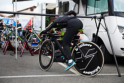 Rossella Ratto (ITA) tries out a bike limbo at Emakumeen Bira 2018 - Stage 2, a 26.6 km time trial from Agurain to Gasteiz, Spain on May 20, 2018. Photo by Sean Robinson/Velofocus.com