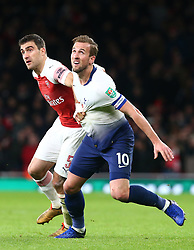 December 19, 2018 - London, England, United Kingdom - London, UK, 19 December, 2018.Tottenham Hotspur's Harry Kane and Sokratis Papastathopoulos of Arsenal.during Carabao Cup Quarter - Final between Arsenal and Tottenham Hotspur  at Emirates stadium , London, England on 19 Dec 2018. (Credit Image: © Action Foto Sport/NurPhoto via ZUMA Press)