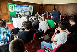 Rodolfo Vanoli, Milan Mandaric during presentation of a new head coach of NK Olimpija, on April 22, 2016 in Austria Trend Hotel, Ljubljana, Slovenia. Photo by Vid Ponikvar / Sportida