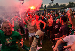 Filip Uremovic of NK Olimpija celebrate after they became Slovenian National Champion 2018 after the football match between NK Domzale and NK Olimpija Ljubljana in 36th Round of Prva liga Telekom Slovenije 2017/18, on May 27, 2018 in Sports park Domzale, Domzale, Slovenia. Photo by Vid Ponikvar / Sportida