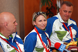 Joze Flere with silver (R), Mateja Pintar with bronze and  Franc Pinter (L) with bronze paraolympic medal at welcome ceremony at Airport Joze Pucnik, on September 20, 2008, in Brnik, Slovenia. (Photo by Vid Ponikvar / Sportal Images)./ Sportida)