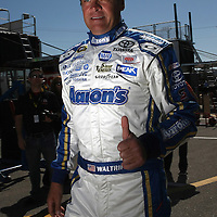 Driver Michael Waltrip is seen in the garage area, during a NASCAR Daytona 500 practice session at Daytona International Speedway on Wednesday, February 20, 2013 in Daytona Beach, Florida.  (AP Photo/Alex Menendez)