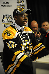 Malcolm Subban of the Belleville Bulls was a first round pick of the Boston Bruins  in the 2012 NHL Entry Draft in Pittsburgh, PA on Friday June 22. Photo by Aaron Bell/CHL Images