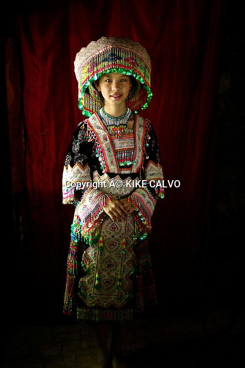 Hmong bride wedding dress, originally from China.