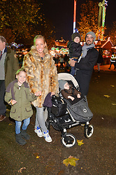 DAVINIA TAYLOR and MATTHEW LEYDEN with her children LUX, JUDE and ASA at the Hyde Park Winter Wonderland - VIP Preview Night, Hyde Park, London on 17th November 2016.