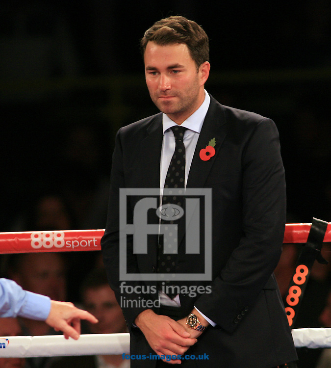 Eddie Hearn after seeing Tommy Coyle win his fight  during their IBF International Lightweight Championship at Hull Ice Arena, Hull<br /> Picture by Richard Gould/Focus Images Ltd +44 7855 403186<br /> 25/10/2014