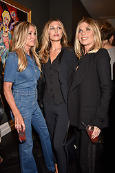 Left to right, Heidi Kennedy, Abbey Clancy and Karen Sullivan at a private view of work by Bradley Theodore entitled 'The Second Coming' at the Maddox Gallery, 9 Maddox Street, London England. 19 April 2017.