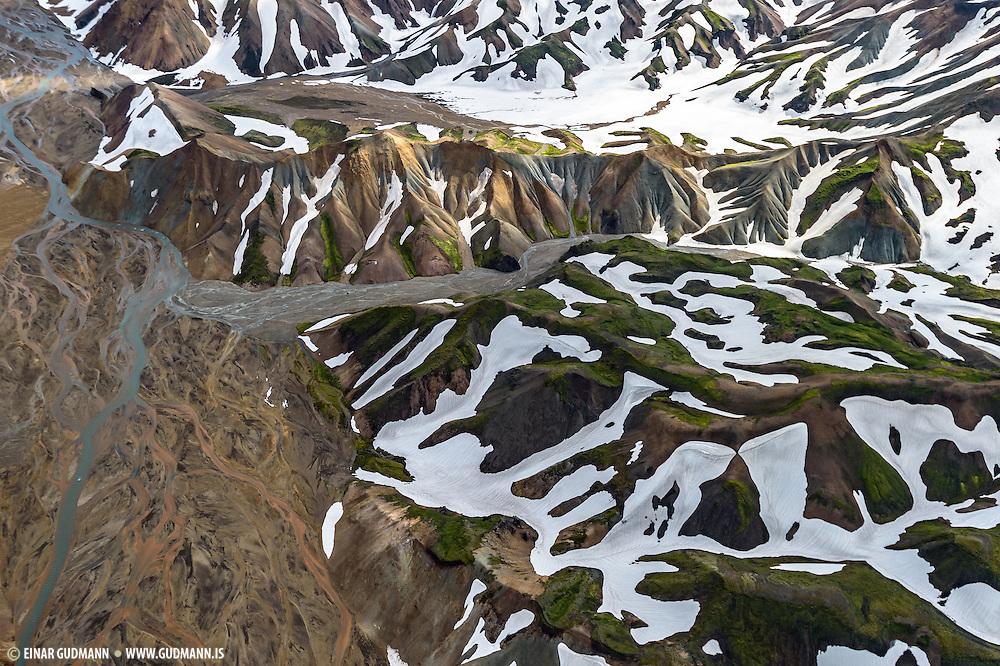 Aerial photo taken over Landmannalaugar in Iceland.