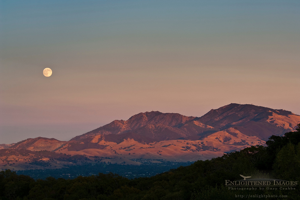 Full Moon rising over Mount Diablo at sunset, Contra Costa County, California
