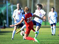 Fotball <br /> La Manga<br /> 28.02.2015<br /> Foto: Morten Olsen/Digitalsport<br /> <br /> Women U23 tournament<br /> Landskamp kvinner U23<br /> Norge v USA / Norway v USA 0:2<br /> <br /> Synne Skinnes Hansen (11) - NOR<br /> Kristin Grubka (23) - USA