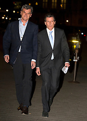 © Licensed to London News Pictures. 02/12/2015. London, UK. Lord SEBASTIAN COE (right) leaving the Houses of Parliament in London after giving evidence before a Commons Culture Media and Sport committee on blood-doping allegations. Lord Coe, who is president of the IAAF (International Association of Athletics Federations) has come under pressure following allegations of widespread doping in athletics.   Photo credit: Ben Cawthra/LNP