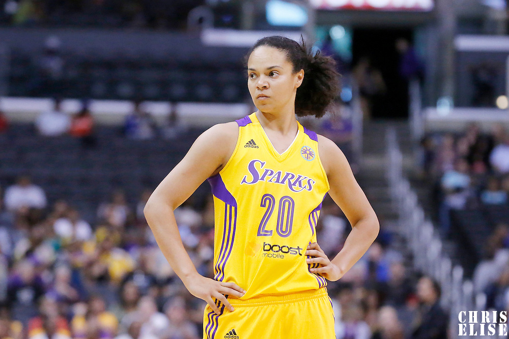18 May 2014: Los Angeles Sparks guard Kristi Toliver (20) rests during the Phoenix Mercury 74-69 victory over the Los Angeles Sparks, at the Staples Center, Los Angeles, California, USA.