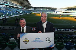 FAI Chief Executive John Delaney (right) and Irish FA Chief Executive Patrick Nelson during the announcement at Windsor Park, Belfast, that the FAI & IFA will perform a joint bid for the 2023 UEFA U21 Championship.