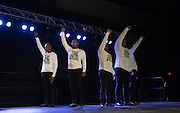 Alpha Phi Alpha members of Johnson C. Smith University raised their fist in solidarity during their performance.