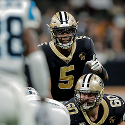 Dec 30, 2018; New Orleans, LA, USA; New Orleans Saints quarterback Teddy Bridgewater (5) against the Carolina Panthers during the second half at the Mercedes-Benz Superdome. Mandatory Credit: Derick E. Hingle-USA TODAY Sports