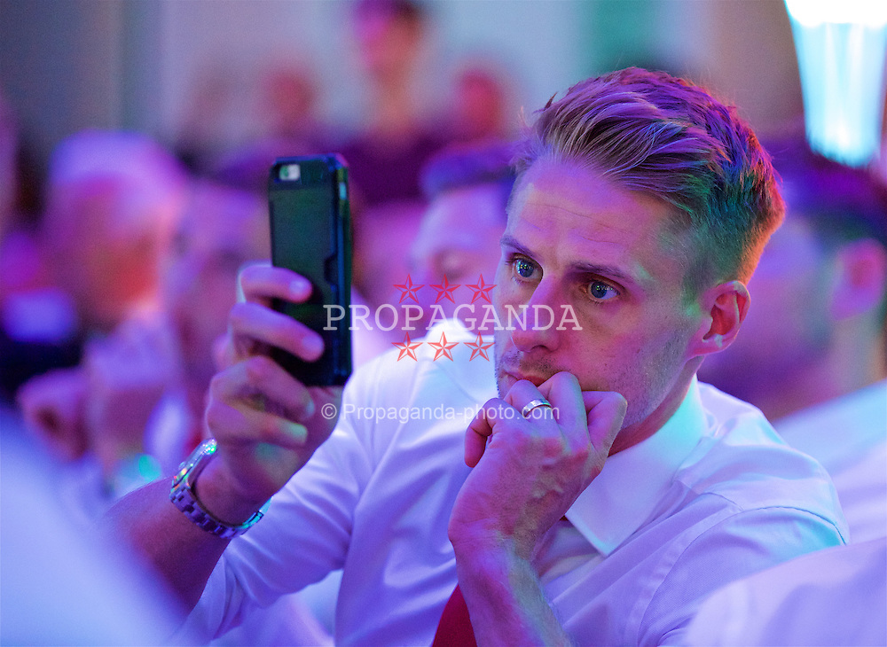 CARDIFF, WALES - Wednesday, June 1, 2016: Wales' David Edwards during a charity send-off gala dinner at the Vale Resort Hotel ahead of the UEFA Euro 2016. (Pic by David Rawcliffe/Propaganda)