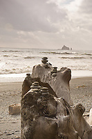 Stones stacked on Rialto Beach, Olympic National Park, Washington.