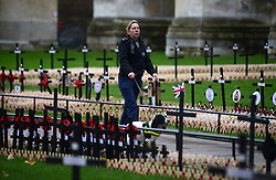 © Licensed to London News Pictures.05/11/2013. London, UK. Police with a sniffer dog among crosses with poppies in the Field of Remembrance at Westminster Abbey. Photo credit : Peter Kollanyi/LNP