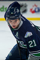 KELOWNA, BC - JANUARY 30: Matthew Wedman #21 of the Seattle Thunderbirds lines up for the face off against the Kelowna Rockets at Prospera Place on January 30, 2019 in Kelowna, Canada. (Photo by Marissa Baecker/Getty Images)