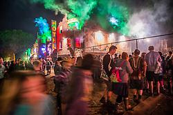 Block 9, The 2015 Glastonbury Festival, Worthy Farm, Glastonbury. 9 - transvestites and nightclubs.  The 2015 Glastonbury Festival, Worthy Farm, Glastonbury.