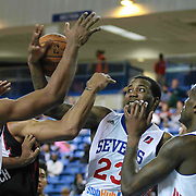 Delaware 87ers Forward Victor Rudd (23), CENTER, attempts to grab a rebound in the first half of a NBA D-league regular season basketball game between the Delaware 87ers (76ers) and the Sioux Falls Skyforce (Miami Heat) Tuesday, Dec. 2, 2014 at The Bob Carpenter Sports Convocation Center in Newark, DEL