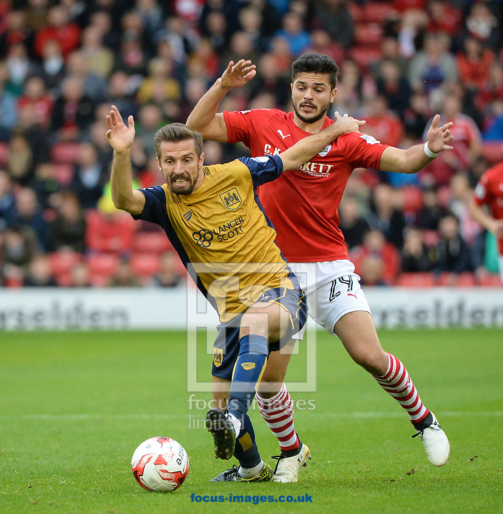 Sam Morsy of Barnsley and Gary O&rsquo;Neil of Bristol City during the Sky Bet Championship match at Oakwell, Barnsley<br /> Picture by Richard Land/Focus Images Ltd +44 7713 507003<br /> 29/10/2016