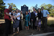 The late James L. Silver's extended family poses with a historical marker  at the dedication of Silver Pond in Oxford, Miss. on Friday, September 30, 2011. James W. Silver was a history professor and author of a well-known book on repression during the segregation era. He joined the Ole Miss faculty in 1936 and served as chair of the history department from 1946 to 1957. During the segregationist era, Silver was frequently at odds with state political leaders, but never daunted by them. He was a constant critic of racial taboos and spoke out against them, often in letters to the editors of various newspapers in the region. His 1964 treatise, ÒMississippi: The Closed Society,Ó became one of the most talked-about books to come out of the state during the period.