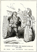 Britannia looking aghast as George Hudson (1800-1871) reveals the list of railway speculations in which he is involved. Hudson overreached himself and was prosecuted for fraud, having paid dividends out of capital. The cartoonist has based the image on Leporello's catalogue song from Mozart's 'Don Giovanni'. Cartoon from 'Punch'