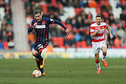 Blackpool forward Jacob Blyth (27) (On loan from  during the Sky Bet League 1 match between Doncaster Rovers and Blackpool at the Keepmoat Stadium, Doncaster, England on 28 March 2016. Photo by Simon Davies.