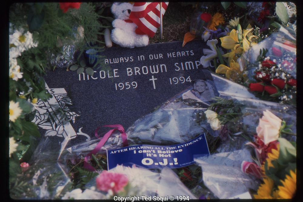 The OJ Simpson trial and media circus.<br /> The grave of Nicole Brown Simpson.