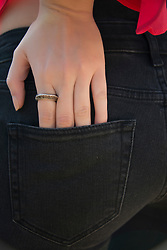 Woman's Hand in Back Pocket, Close-up View